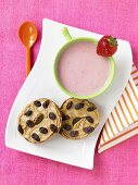 Mug of Strawberry Soup with Peanut Butter Raisin Bagel