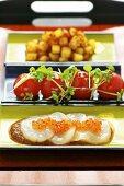 Potato masala with scallop sashimis and cherry tomatoes (Asia)