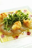 Raw and fried crayfish on a lime and chilli marinade with cress salad