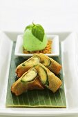 Crispy bananas with basil ice cream (Asia)