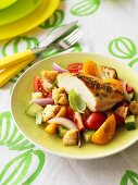 Grilled chicken breast on Tuscan bread salad