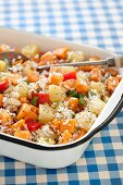 Caribbean style rice salad with sweet potatoes, peppers and jicama