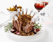 A lamb crown with a cranberry, herb and bread stuffing