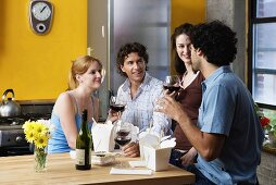 Four friends socializing