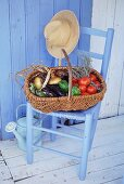 Basket of vegetables and herbs