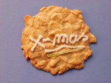 Almond biscuit with the word Xmas