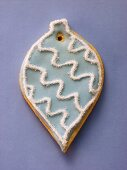 Blue & white decorated sweet pastry biscuit (tree ornament)