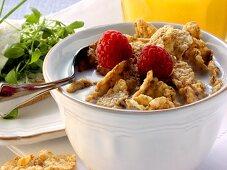 Wholemeal cornflakes & raspberries; cress & bread; orange juice