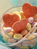 Red chocolate hearts and jelly beans