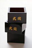 Three square sake bowls