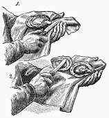 Opening oysters (Illustration)
