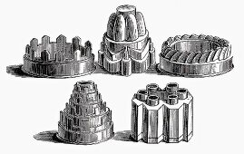 Various old baking tins (Illustration)