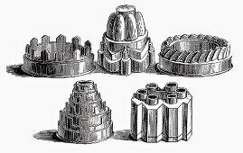 Various old baking tins (Illustration)