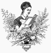 Woman with dictionary of cookery (Illustration)