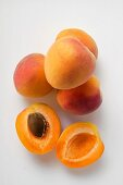 Apricots, one halved