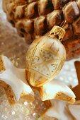 Cinnamon stars and Christmas tree bauble