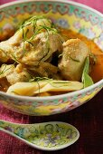 Chicken curry with bamboo sprouts & strips of lemon leaves