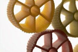 Coloured pasta wheels (detail)