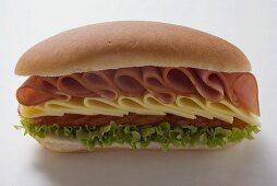 Ham, cheese, tomato and lettuce sandwich