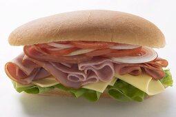 Sub sandwich: ham, cheese, tomato and onion