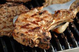 Pork chop on barbecue