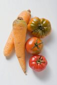 Two carrots and three tomatoes