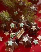 Chocolate-coated marzipan stars