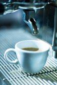 A cup of espresso on an espresso machine