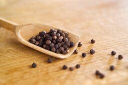 Black peppercorns on a wooden scoop