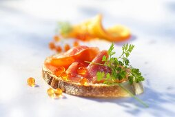 A slice of bread with caviar