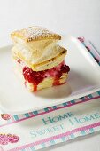 Puff pastry filled with raspberry ice cream & raspberry sauce