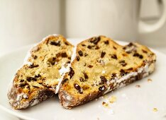 Two slices of stollen on a plate