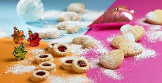 Jam biscuits, almond hearts and vanilla crescents