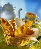 Croissants in a bread basket for breakfast