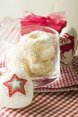 Vanilla crescents with dessicated coconut in glass jar