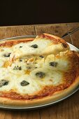 American-style three cheese pizza with piece on server