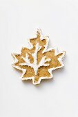 Gingerbread leaf, decorated with white icing