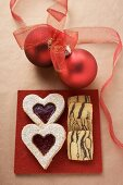 Jam biscuits and stripy biscuits for Christmas