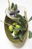 Olive sprigs with black and green olives in bowls