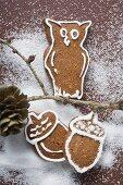 Gingerbread owl on branch,  gingerbread acorns beneath it
