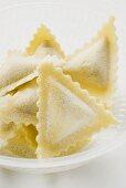 Home-made triangular ravioli