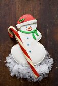 Snowman biscuit and candy cane