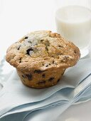 Chocolate chip muffin and glass of milk