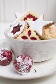 Assorted Christmas biscuits in bowl