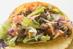 Taco with mince filling (close-up)