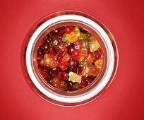 Gummi bears in storage jar (overhead view)