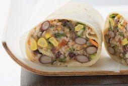 Bean and rice burrito to take away
