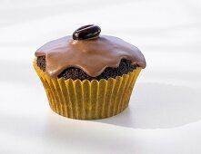 Iced mocha muffin with coffee bean