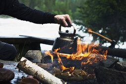 Making coffee on a camp fire (Sweden)