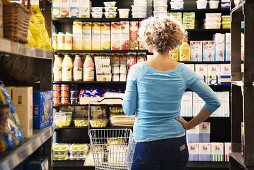 Woman in supermarket (Sweden)